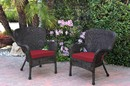 Jeco W00215-C_2-FS030 Set Of 2 Windsor Espresso Resin Wicker Chair With Red Cushion