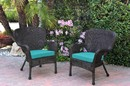 Jeco W00215-C_2-FS032 Set Of 2 Windsor Espresso Resin Wicker Chair With Turquoise Cushion