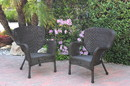 Jeco W00215-C_2 Set Of 2 Windsor Espresso Resin Wicker Chair Without Cushions
