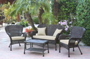 Jeco W00215-G-FS006 4Pc Windsor Espresso Wicker Conversation Set - Tan Cushions