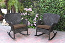 Jeco W00215-R_2-FS007 Set Of 2 Windsor Espresso Resin Wicker Rocker Chair With Brown Cushions