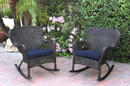 Jeco W00215-R_2-FS011 Set Of 2 Windsor Espresso Resin Wicker Rocker Chair With Midnight Blue Cushions