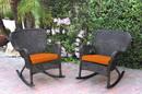 Jeco W00215-R_2-FS016 Set Of 2 Windsor Espresso Resin Wicker Rocker Chair With Orange Cushions