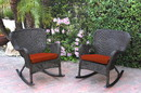 Jeco W00215-R_2-FS018 Set Of 2 Windsor Espresso Resin Wicker Rocker Chair With Brick Red Cushions