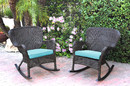 Jeco W00215-R_2-FS027 Set Of 2 Windsor Espresso Resin Wicker Rocker Chair With Sky Blue Cushions