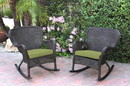 Jeco W00215-R_2-FS029 Set Of 2 Windsor Espresso Resin Wicker Rocker Chair With Sage Green Cushions