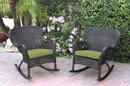 Jeco W00215-R_2-FS029 Set Of 2 Windsor Espresso Resin Wicker Rocker Chair With Sage Green Cushions