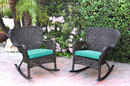 Jeco W00215-R_2-FS032 Set Of 2 Windsor Espresso Resin Wicker Rocker Chair With Turquoise Cushions