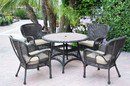 Jeco W00215F-D-G-FS001 5Pc Windsor Espresso Wicker Dining Set With Faux Wood Top And 3
