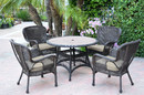 Jeco W00215F-D-G-FS006 5Pc Windsor Espresso Wicker Dining Set With Faux Wood Top And 3