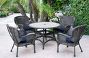 Jeco W00215F-D-G-FS011 5Pc Windsor Espresso Wicker Dining Set With Faux Wood Top And 3
