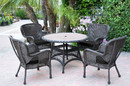 Jeco W00215F-D-G-FS017 5Pc Windsor Espresso Wicker Dining Set With Faux Wood Top And 3