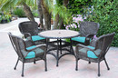 Jeco W00215F-D-G-FS027 5Pc Windsor Espresso Wicker Dining Set With Faux Wood Top And 3