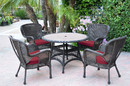 Jeco W00215F-D-G-FS030 5Pc Windsor Espresso Wicker Dining Set With Faux Wood Top And 3