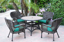 Jeco W00215F-D-G-FS032 5Pc Windsor Espresso Wicker Dining Set With Faux Wood Top And 3