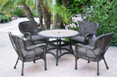 Jeco W00215F-D-G-FS033 5Pc Windsor Espresso Wicker Dining Set With Faux Wood Top And 3