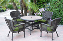 Jeco W00215F-D-G-FS034 5Pc Windsor Espresso Wicker Dining Set With Faux Wood Top And 3