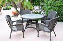 Jeco W00215F-D-G 5Pc Windsor Espresso Wicker Dining Set With Faux Wood Top (1 Rd Dinging Table +4 Single Chairs)