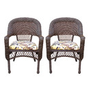 Jeco W00401C_2 Resin Wicker Dining Chair With Florals Cushions-Set Of 2