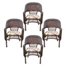 Jeco W00401C_4 Resin Wicker Dining Chair With Florals Cushion-Set Of 4