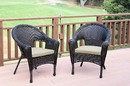 Jeco W00402_2-FS006 Set Of 2 Espresso Resin Wicker Clark Single Chair With Tan Cushion
