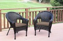 Jeco W00402_2-FS007 Set Of 2 Espresso Resin Wicker Clark Single Chair With Brown Cushion