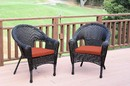 Jeco W00402_2-FS018 Set Of 2 Espresso Resin Wicker Clark Single Chair With Brick Red Cushion