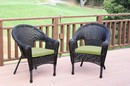 Jeco W00402_2-FS029 Set Of 2 Espresso Resin Wicker Clark Single Chair With Sage Green Cushion