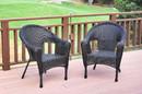 Jeco W00402_2 Set Of 2 Espresso Resin Wicker Clark Single Chair Without Cushion