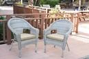 Jeco W00402G_2-FS006 Set Of 2 Grey Resin Wicker Clark Single Chair With 2 Inch Tan Cushion