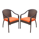 Jeco W00501-C_2-FS016 Set of 2 Cafe Curved Stacking Wicker Chairs - Orange Cushions