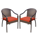 Jeco W00501-C_2-FS018 Set of 2 Cafe Curved Stacking Wicker Chairs - Brick Red Cushions
