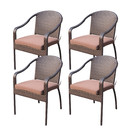 Jeco W00501-C_4-FS007 Set of 4 Cafe Curved Stacking Wicker Chairs - Brown Cushions