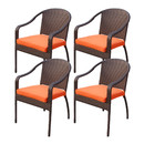 Jeco W00501-C_4-FS016 Set of 4 Cafe Curved Stacking Wicker Chairs - Orange Cushions