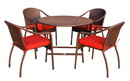 Jeco W00501R-G-FS018 5Pcs Cafe Curved Back Chairs And Folding Wicker Table Dining Set - Brick Red Cushions