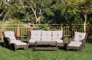 Jeco W61-FS006 6pc Wicker Seating Set with Tan Cushions