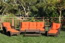 Jeco W61-FS016 6Pc Wicker Seating Set With Orange Cushions