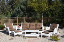 Jeco W61W-FS007 6Pc White Wicker Seating Set With Brown Cushions