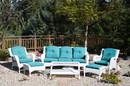 Jeco W61W-FS032 6Pc White Wicker Seating Set With Turquoise Cushions
