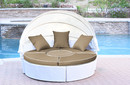 Jeco WB001W-FS006 All-Weather White Wicker Sectional Daybed - Tan Cushions