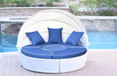 Jeco WB001W-FS011 All-Weather White Wicker Sectional Daybed - Midnight Blue Cushions