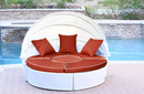 Jeco WB001W-FS018 All-Weather White Wicker Sectional Daybed - Brick Red Cushions