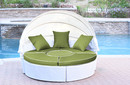 Jeco WB001W-FS029 All-Weather White Wicker Sectional Daybed - Sage Green Cushions
