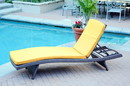 Jeco WL-1_4_CL1-FS025 Wicker Adjustable Chaise Lounger with Mustard Cushion - Set of 4