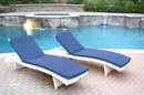 Jeco WL-1W_2_CL1-FS011 White Wicker Adjustable Chaise Lounger With Midnight Blue Cushion - Set Of 2