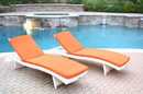 Jeco WL-1W_2_CL1-FS016 White Wicker Adjustable Chaise Lounger with Orange Cushion - Set of 2