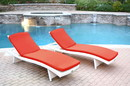 Jeco WL-1W_2_CL1-FS018 White Wicker Adjustable Chaise Lounger With Brick Red Cushion - Set Of 2