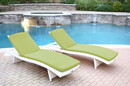 Jeco WL-1W_2_CL1-FS029 White Wicker Adjustable Chaise Lounger Sage Green Cushion - Set Of 2