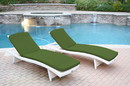 Jeco WL-1W_2_CL1-FS034 White Wicker Adjustable Chaise Lounger With Hunter Green Cushion - Set Of 2