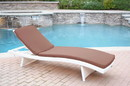 Jeco WL-1W_CL1-FS007 White Wicker Adjustable Chaise Lounger With Brown Cushion